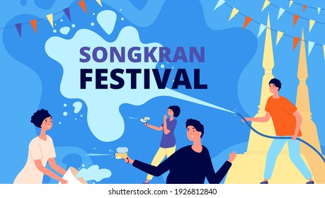 Songkran festival. Asia thailand fest, happy girl with water bowl. People celebration, thai person playing splashes utter vector travel background