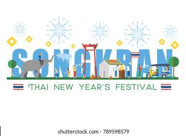 Songkran Festival  Banner, Thai New Year's Day