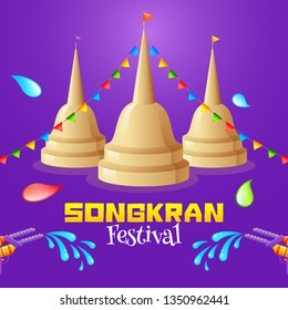 Songkran Festival concept with buddhist temple, bunting decoration and water gun.