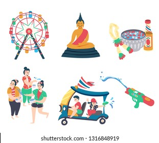 Songkran festival elements with thai women playing water, splashing water on tuk tuk, songkran symbol, water gun, and monk, all on white background, illustration, vector