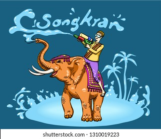 Songkran festival with elephant and happy tourist throwing water on blue wall background - Vector illustration