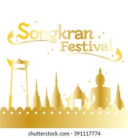 Songkran Festival gold logo  Bangkok grand amazing Thailand
