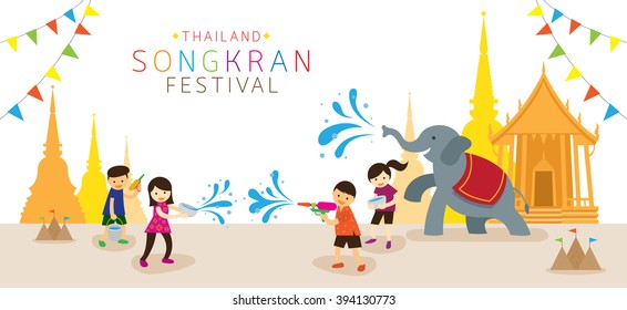 Songkran Festival, Kids Playing Water in Temple, Thailand Traditional New Year's Day