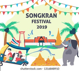 Songkran festival, people on tuk tuk or Thai taxi splashing water to elephant with thai temple background, illustration, vector