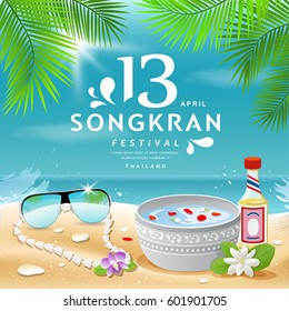 Songkran Festival summer of Thailand on sea background, vector illustration