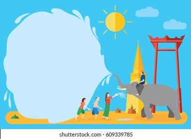 Songkran Festival, Thai New Year's day, people enjoy splashing water with elephant, vector