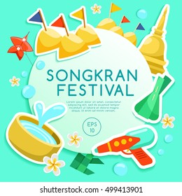 Songkran Festival : Thai Water Festival Elements : Vector Illustration