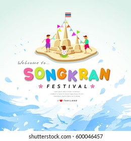 Songkran festival of Thailand design water background, vector illustration