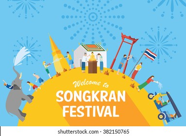 Songkran festival, Thailand New Year, Illustration of people celebrating and throwing water on each other, Flat design