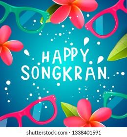 Songkran Festival in Thailand, Thai New Year. Frangipani flowers, sunglasses, water splashes, vector illustration