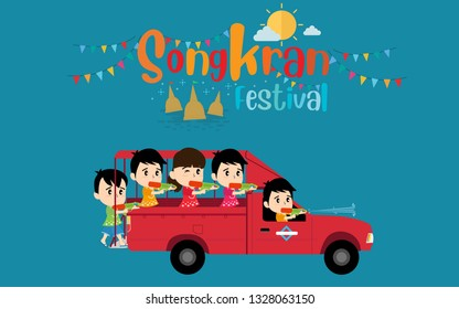 Songkran Festival in Thailand and Thai people celebrating on red bus. Flat design