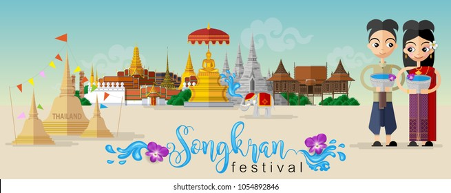 Songkran Festival, Thailand travel concept - The Most Beautiful Places To Visit In Thailand - in flat style.