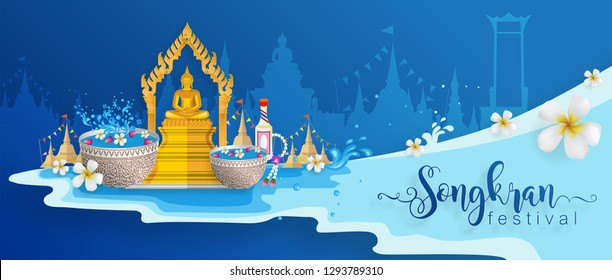 Songkran Festival, Thailand travel concept - The Most Beautiful Places To Visit In Thailand in flat style.