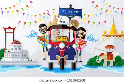 Songkran Festival, Thailand travel concept - The Most Beautiful Places To Visit In Thailand in flat style.  (Translation : Name road thanon khao san )