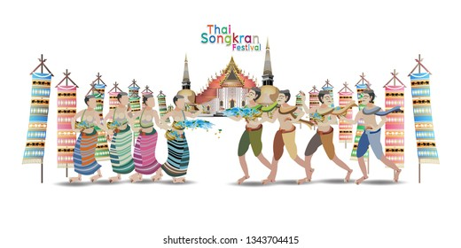 Songkran Festival in Thailand vector illustration of Info graphic elements for traveling to Thailand, concept Travel to Thailand. Info graphic Element / icon / Symbol , Vector Design travel Thailand