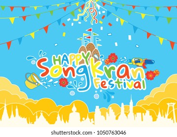 Songkran Festival in Thailand Vector, Thai traditional, Thai Water Splash with Landmark in Thailand , Thailand Traditional New Year's Day