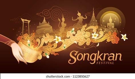 Songkran Festival in Thailand Vector, Thai traditional, Thai Water Splash with Landmark in Thailand and Jasmine Flowers, White frangipani tropical flower, plumeria flower blooming