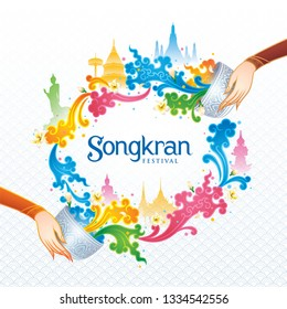Songkran Festival in Thailand Vector, Thai traditional, Colorful Water Splash with Landmark in Thailand and Jasmine Flowers, White frangipani tropical flower, plumeria flower blooming