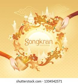 Songkran Festival in Thailand Vector, Thai traditional, Gold Water Splash with Landmark in Thailand and Jasmine Flowers, White frangipani tropical flower, plumeria flower blooming