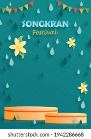 Songkran Festival in Thailand, The water festival of the Thai new year on paper cut art and craft style with color background for greeting card, flyers, poster