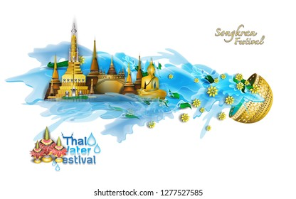Songkran Festival  vector illustration of Info graphic elements for traveling to Thailand, concept Travel to Thailand. Info graphic Element / icon / Symbol , Vector Design travel Thailand