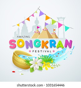 Songkran festival water splash colorful of Thailand design background, vector illustration