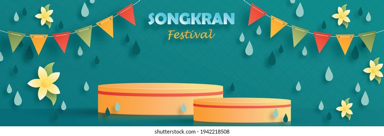 Songkran podium round stage Festival in Thailand, The water festival of the Thai new year on paper cut art and craft style with color background for greeting card, flyers, poster