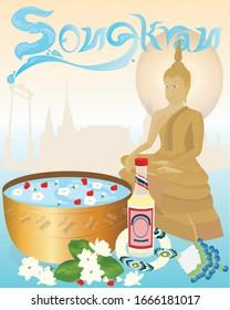 songkran thailand Bathing the Buddha image