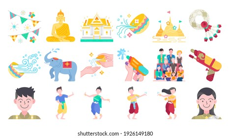 Songkran thailand festival flat design icon set. Thai water splashing festive day, thai dancing traditional and cultural. Colorful vector and illustration.