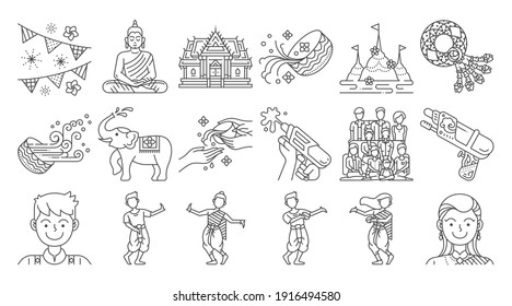Songkran thailand festival linear icon set. Thai water splashing festive day. Thai dancing traditional and cultural.