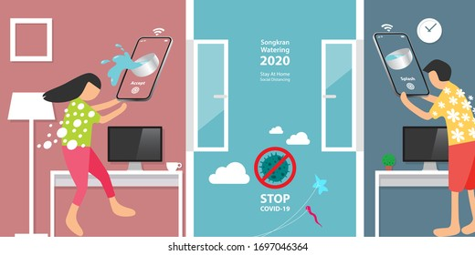 SONGKRAN, Thailand Water Festival 2020, year of COVID-19 which people should stay at home and practice social distancing to stop the outbreak, smartphone with splash system, smart technology concept.