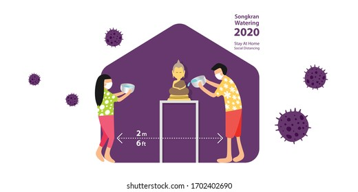 SONGKRAN, Thailand Water Festival 2020, year of COVID-19 which people should stay at home and practice social distancing to stop the outbreak, people sprinkle water onto a Buddha image at home.