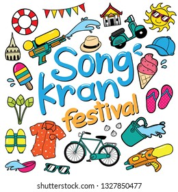 Songkran Vector Doodle Style