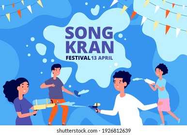 Songkran water festival. Happy thai children, kids playing splash gun and bowl. Cartoon thailand new year fest poster, asian party utter vector background
