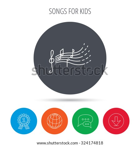 Songs Kids Icon Musical Notes Melody Stock Vector (Royalty