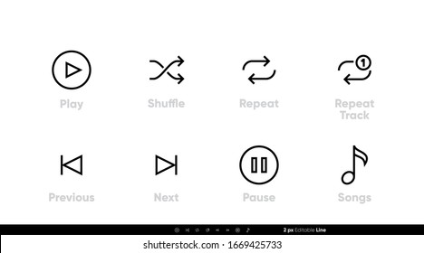 Songs and Music Control UI icons. Play, Shuffle, Repeat Track, Next, Previous and Pause vector set. Editable line vector on white background