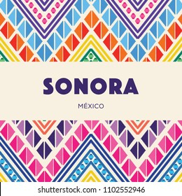 Sonora, Mexican State; Colorful Embroidery Style Composition – Copy Space
