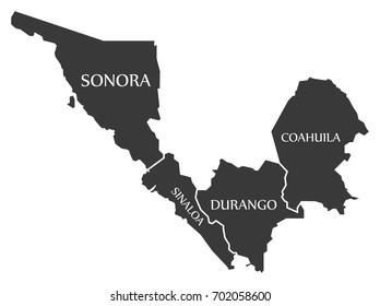 Sonora - Sinaloa - Durango - Coahuila Map Mexico illustration