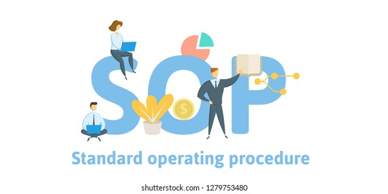 SOP, Standard Operating Procedure. Concept with keywords, letters and icons. Colored flat vector illustration. Isolated on white background.