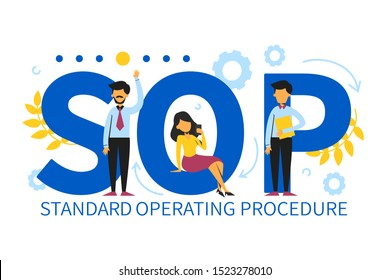 SOP Standard Operating Procedure vector isolated. Abbreviation for business industry. Organization process.
