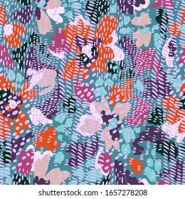 Sophisticated floral seamless pattern. Mix of abstract cartoon flowers and bold doodle striped shapes. Floral bloom with animal skin ornament. Flat design. Good for fashion, textile, fabric.