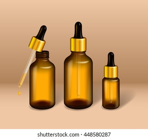 Sophisticated glass oil bottle mock up. Dark glass & golden metal lid. Cosmetics / healthcare liquid product package. Vector illustration.
