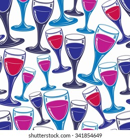 Sophisticated wine goblets continuous backdrop, stylish alcohol theme pattern. Classic wineglasses, romantic rendezvous idea wallpaper.
