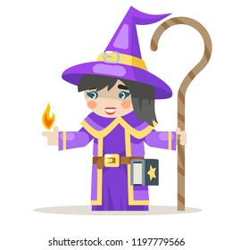 Sorceress layered girl mage warlock wisewoman female fantasy medieval action game RPG character animation ready vector illustration