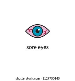 Sore eyes, inflamed reddened eyes, red eyes icon. Vector illustration