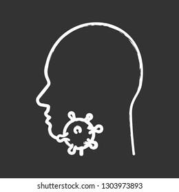 Sore throat chalk icon. Glands, tonsils, pharynx inflammation. Pharyngitis. Throat virus infection. Influenza epidemics. Isolated vector chalkboard illustration