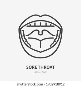 Sore throat line icon, vector pictogram of flu or cold symptom. Open mouth with pharyngitis illustration, sign for medical poster.