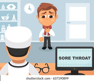 Sore throat medical concept. Vector illustration. Doctor and patient are talking in the hospital. Isolated on white background.
