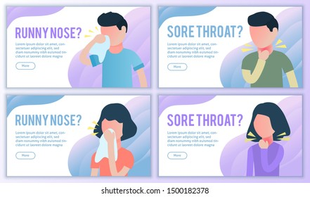 Sore throat and runny nose website banners set. Cold or flu virus symptom influenza landing page. For medical treatment and healthcare, packaging of tablets.. Flat vector bundle. Male and female.
