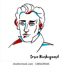 Soren Kierkegaard engraved vector portrait with ink contours. Danish philosopher, theologian, poet, social critic and religious author.